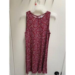 Maroon Patterned Swing Dress Small